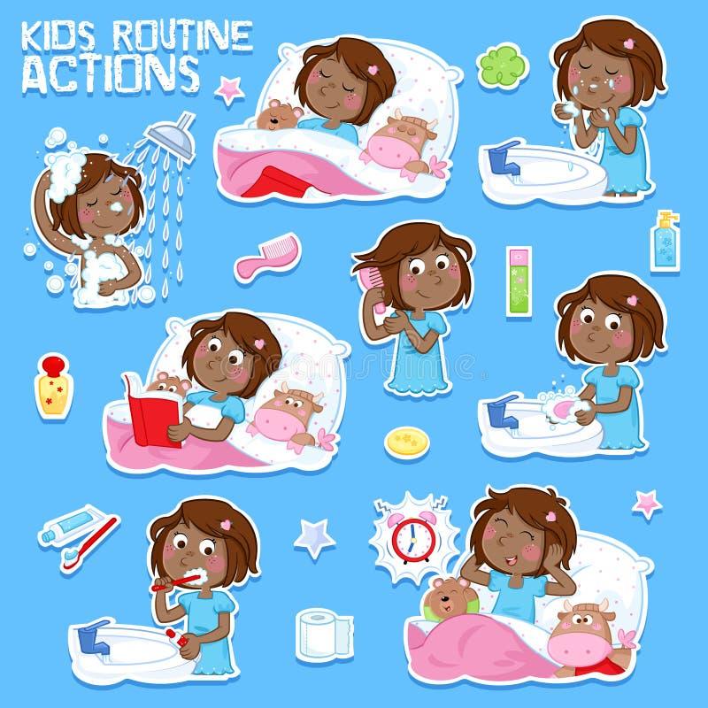 Sött lite svart flicka med hår för mörk brunt och hennes dagliga rutinhandlingar stock illustrationer