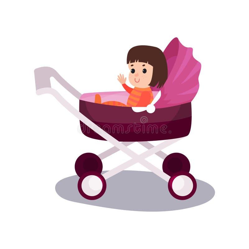 Sött liten flickasammanträde i ett purpurfärgat modernt behandla som ett barn sittvagnen, transportering av småbarn med komfortte vektor illustrationer