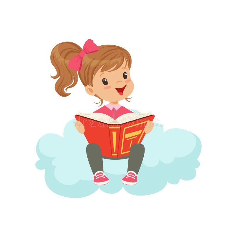 Sött liten flickasammanträde på molnet som läser en bok, ungar fantasi och drömvektorillustrationen royaltyfri illustrationer