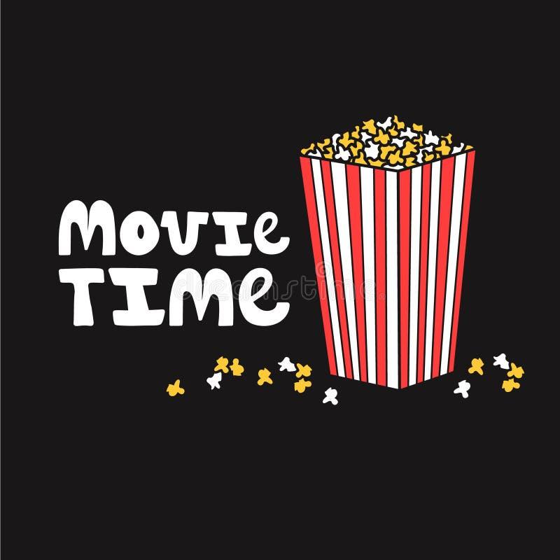 Sött popcorn och engelsk text Filmtid royaltyfri illustrationer