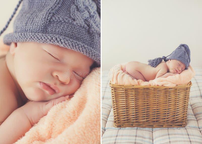 Sött sova som är nyfött, behandla som ett barn i vide- korg-collage royaltyfri bild