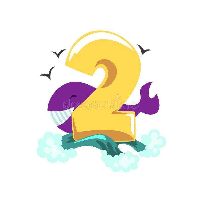 Sött val och nummer två, lycklig födelsedag, årsdagnummer med den gulliga djura teckenvektorillustrationen på en vit vektor illustrationer