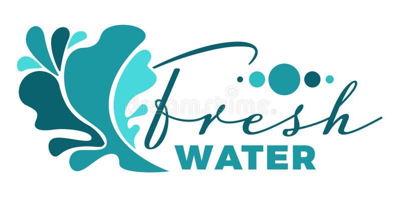 Sötvattenvätskefärgstänk eller våg isolerad symbol med bokstäver vektor illustrationer
