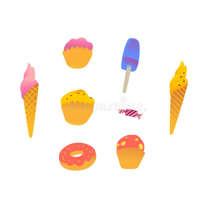 Süß-Materialien eingestellt mit Eiscreme- und Kuchen- und Süßigkeits- und Donutkarikaturart lizenzfreie abbildung