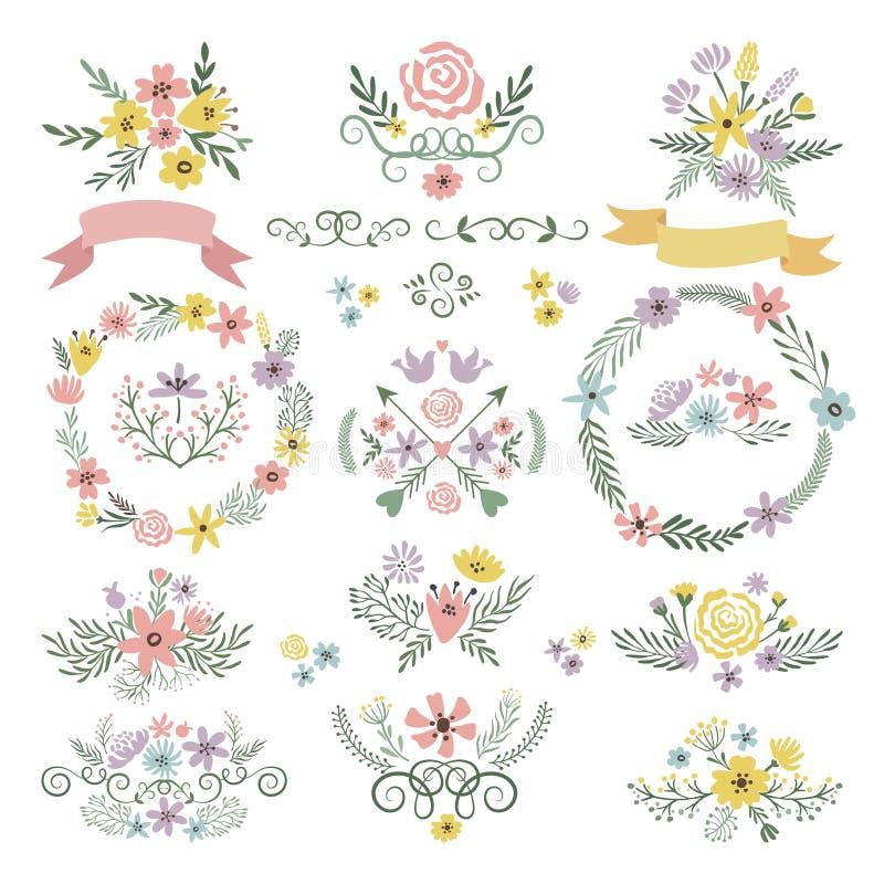 Süße Aufkleber und Weinleseaufkleber Florenelemente für Heiratseinladungskarten vektor abbildung