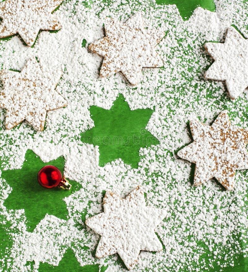 Süße Bäckerei Abstrakter Weihnachtslebensmittelhintergrund stockbilder