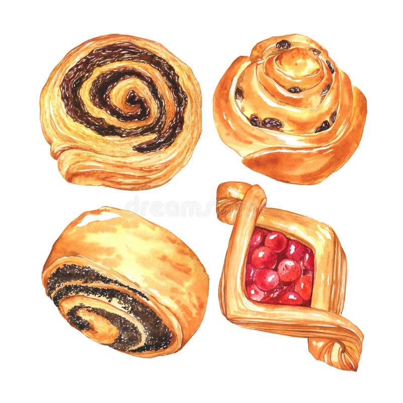 Süße Brötchen des Aquarells mit Beere, Rosinen und Schokolade vektor abbildung