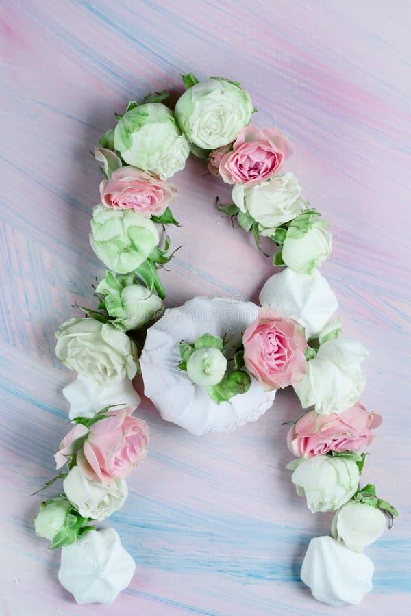 Süße Eibische mit den Knospen von Rosen und von Blättern auf dem Tisch stockbild