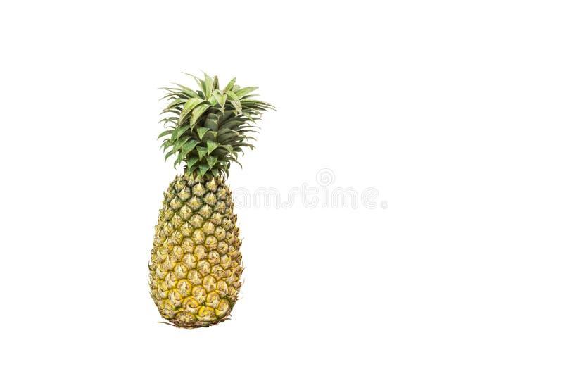 Süße Frucht der Ananas mit den Grünblättern lokalisiert auf weißem Hintergrund lizenzfreies stockfoto