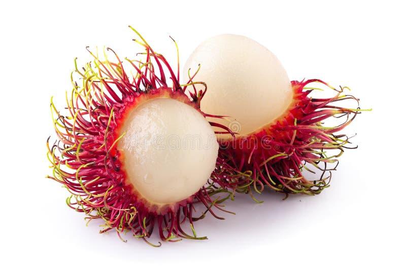 Süße Frucht des Rambutan lokalisiert über weißem Hintergrund lizenzfreie stockfotos
