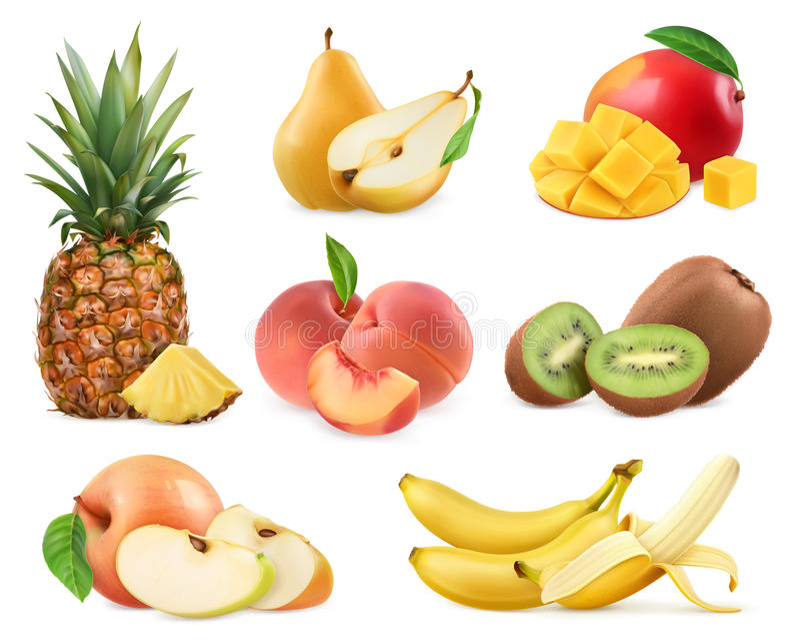 Süße Frucht Ganzes und Stücke Ikonen s des Vektors 3d stock abbildung