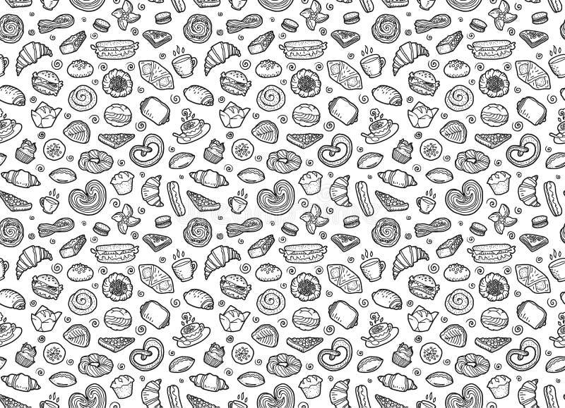 Süße Gebäck-, Kaffee- und Teeschalen - nahtloses Muster des europäischen Frühstücksvektors lizenzfreie abbildung