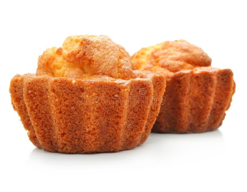 Süße Gebäckkuchen getrennt auf Weiß stockfotografie