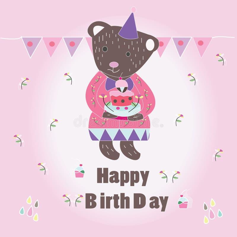 Süße glückliche Biryhday-Karte mit Bären stockbilder