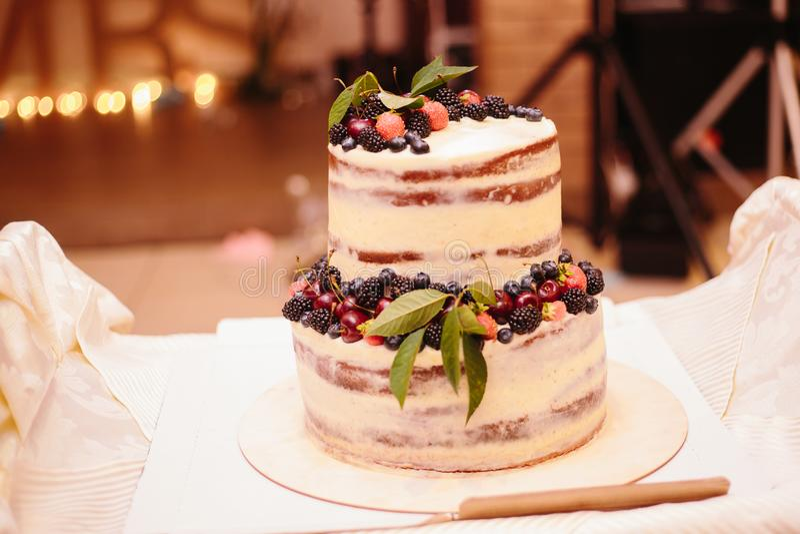 Süße Hochzeitstorte gemacht vom frischen Beerenkleinen kuchen lizenzfreies stockbild