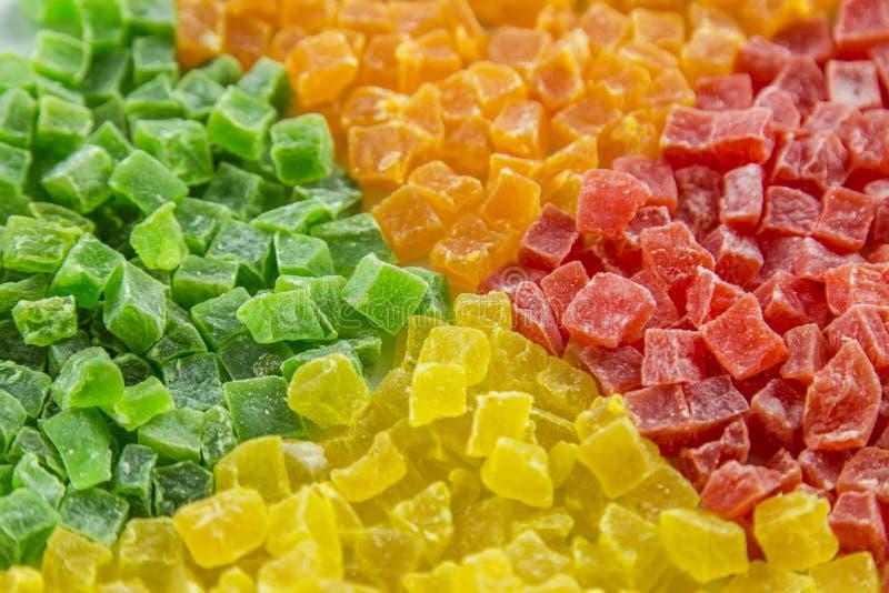 Süße kandierte Trockenfrüchte, stockbild