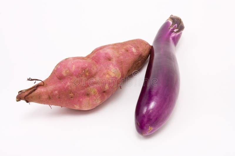 Süße Kartoffel N Aubergine lizenzfreie stockfotografie