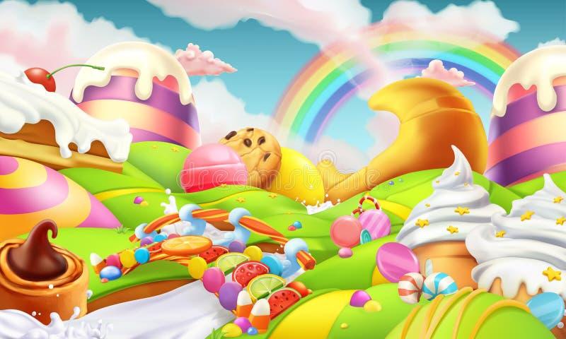 Süße Landschaft Süßigkeits-Land Süßigkeiten und Milk River Vektorhintergrund vektor abbildung
