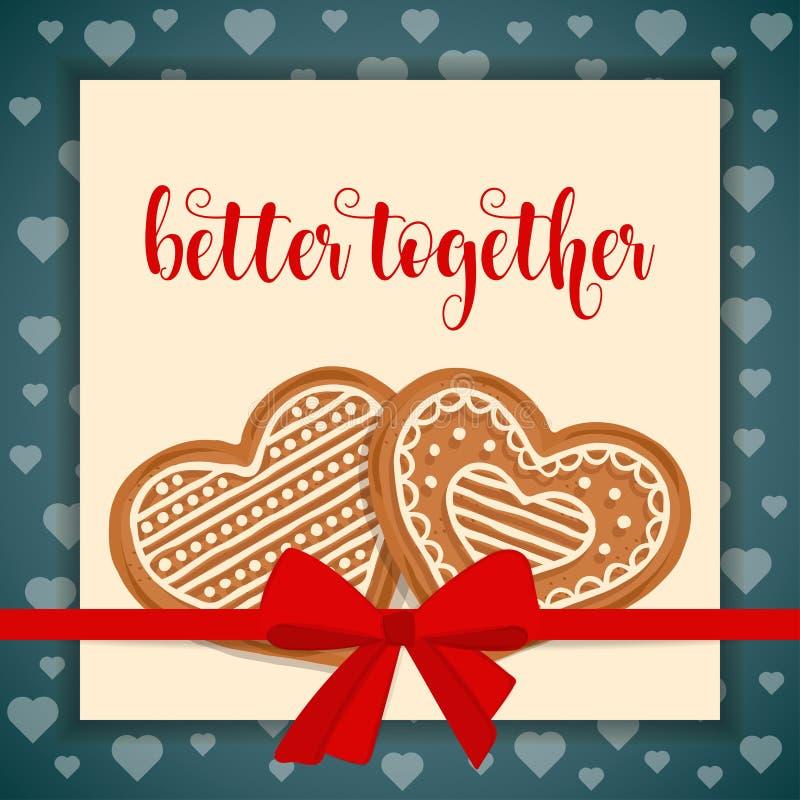 Süße Liebeskarte mit Lebkuchenherzen vektor abbildung