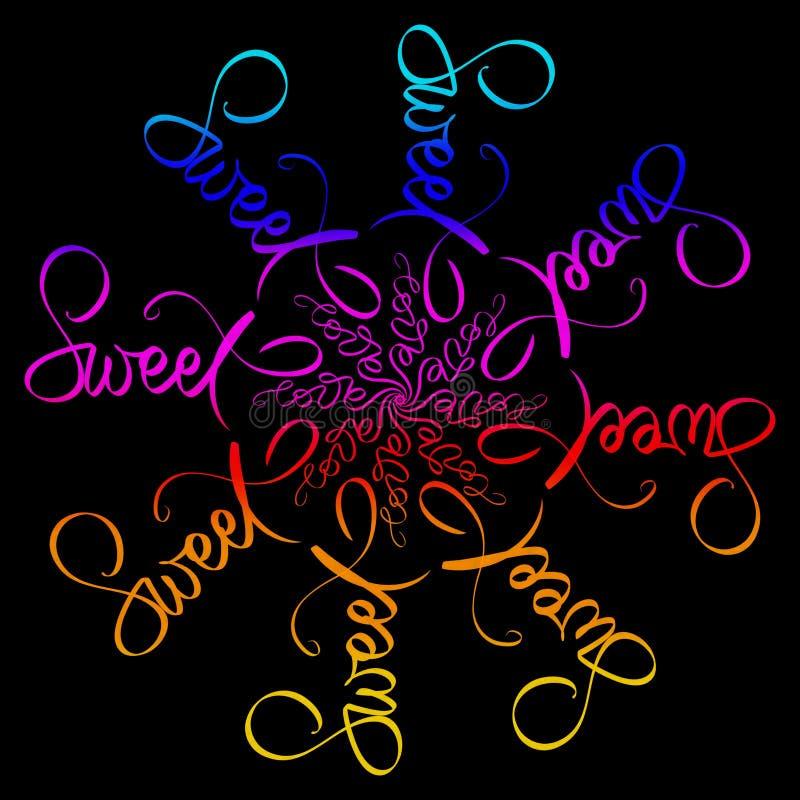 Süße Liebesmandalaillustration Runder Rahmen auf Schwarzem Regenbogenfarbkarte Hand schriftliches Zeichen im Grün, blau, rosa, ro vektor abbildung