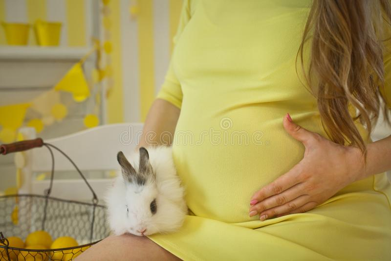 Süße schöne schwangere Frau mit Kaninchen Osterhasen lizenzfreie stockbilder