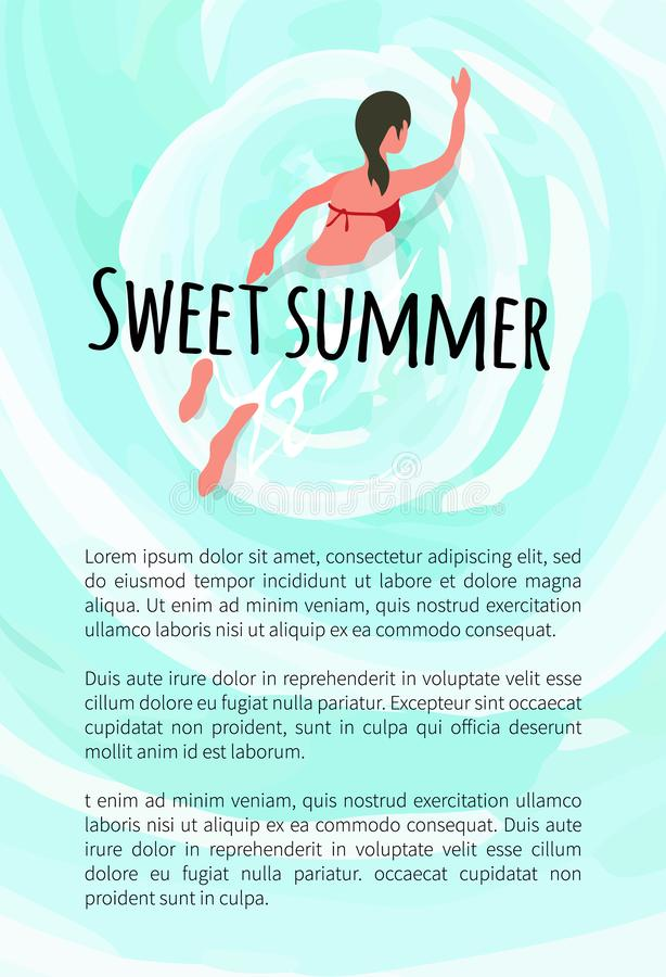 Süße Sommer-Frauen-Schwimmen in der Wasser-Sommerzeit vektor abbildung