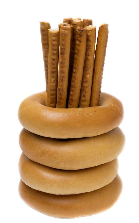Süße Stöcke und Bagel lizenzfreies stockfoto
