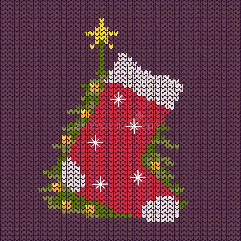 Süße strickende Socke und Weihnachtsbaum vektor abbildung