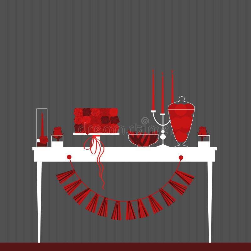 Süße Tabelle für Valentinsgruß ` s Tag Nachtischstange mit Kuchen Süßigkeit B lizenzfreie abbildung