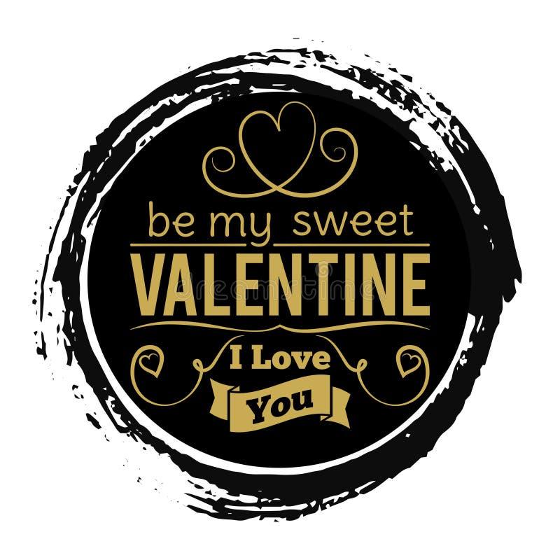 Süße Valentinsgruß-Tagesgoldfahne auf schwarzem Schmutzhintergrund - Weinleseliebes-Stempeldesign stock abbildung