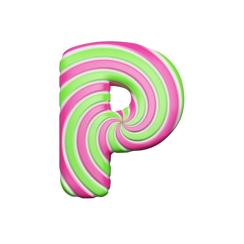 Süßer Alphabetbuchstabe P Der Weihnachtsguß, der von der Rosa- und Grünspirale gemacht wurde, streifte Lutscher 3d übertragen get vektor abbildung