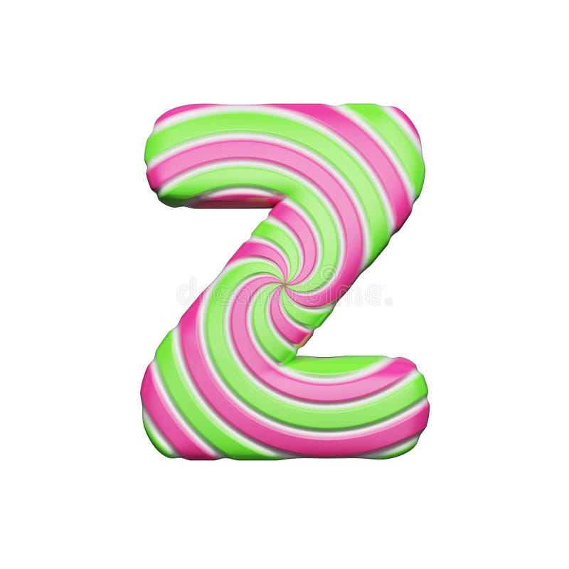 Süßer Alphabetbuchstabe Z Der Weihnachtsguß, der von der Rosa- und Grünspirale gemacht wurde, streifte Lutscher 3d übertragen get lizenzfreie abbildung