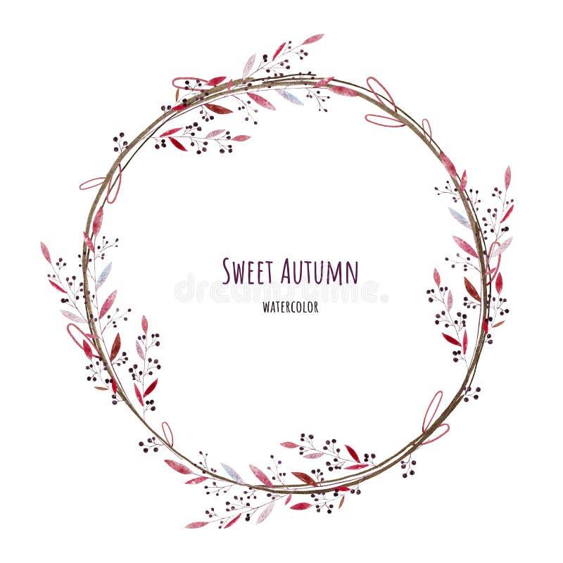 Süßer Herbstkranz watercolor lizenzfreies stockfoto