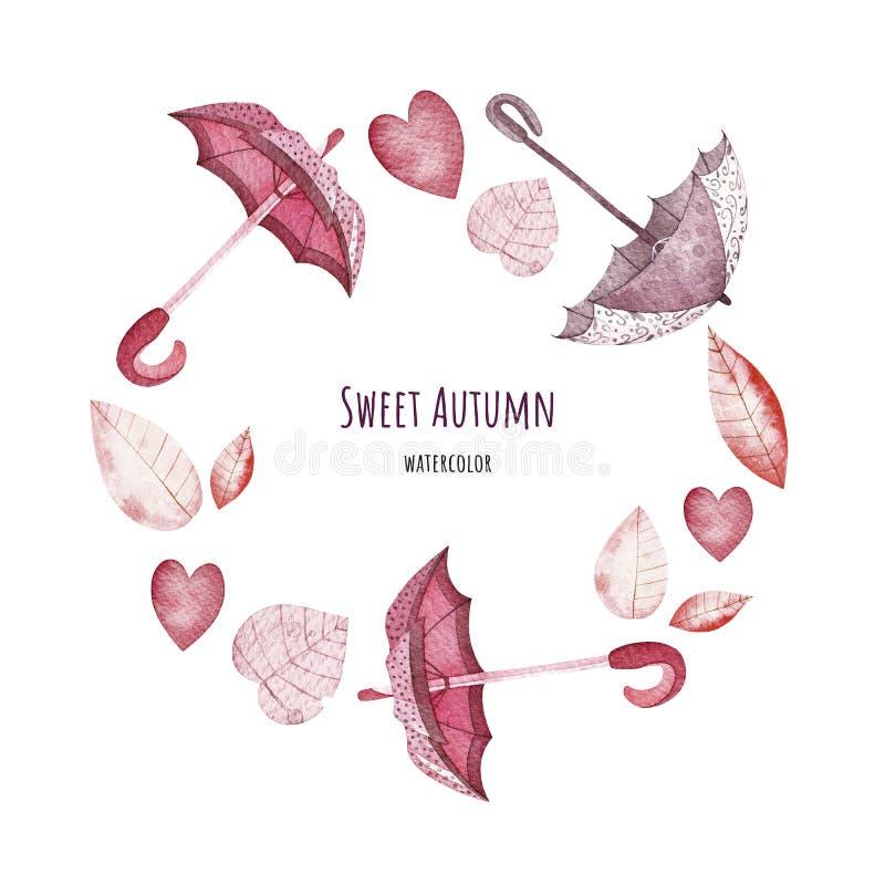 Süßer Herbstkranz watercolor stockbild