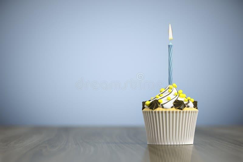 süßer kleiner Kuchen mit einer Kerze vektor abbildung