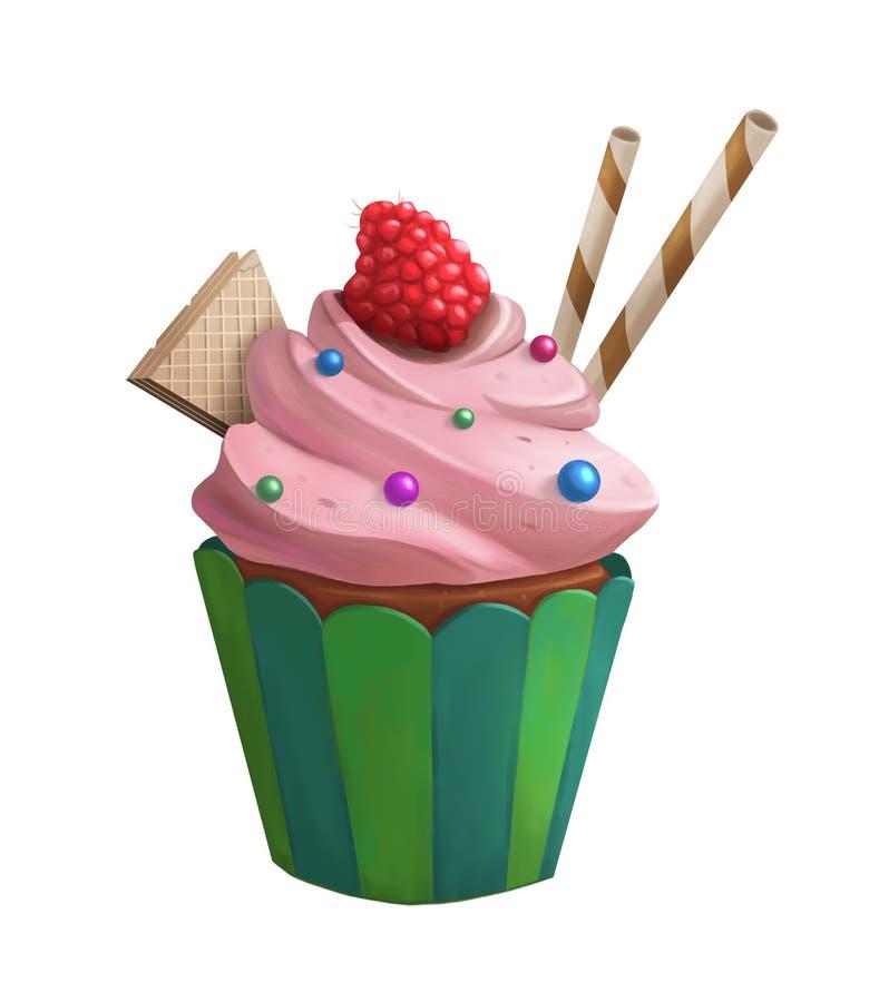 Süßer kleiner Kuchen mit roter Himbeere und der Oblate lokalisiert stock abbildung
