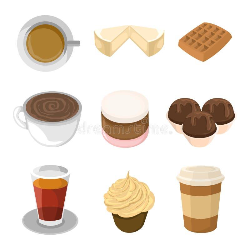 Süßer Lebensmittel-Cafeteria-Illustrations-Satz vektor abbildung