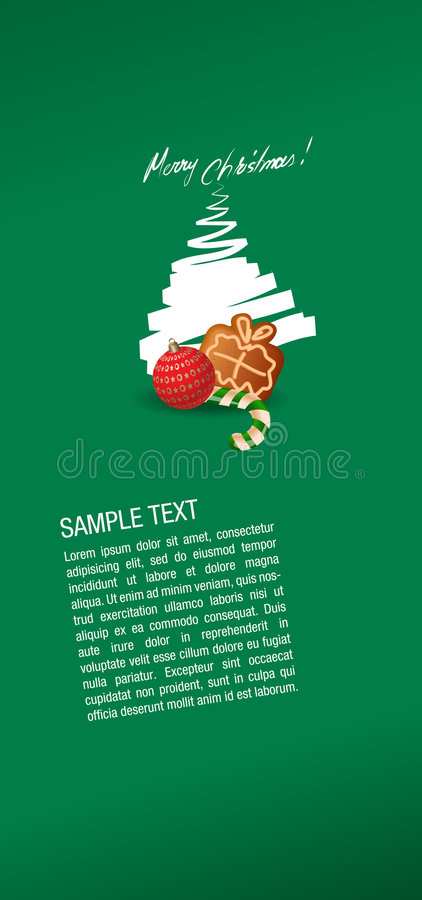 Süßer Lebkuchenkuchen der Weihnachtsgrußkarte, c vektor abbildung