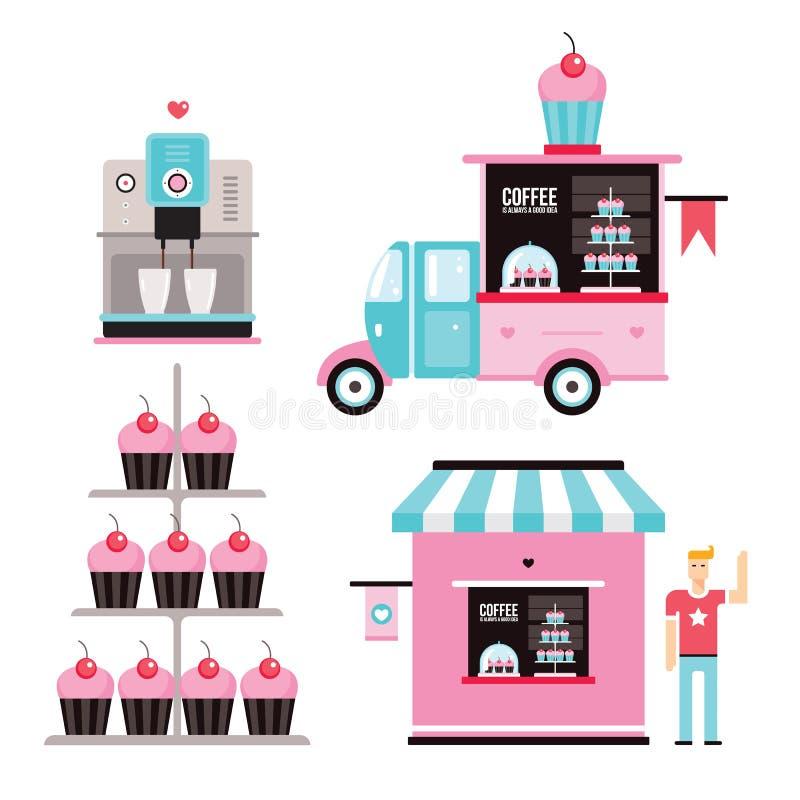 Süßer Muffin-Auto LKW Lebensmittelunternehmengestaltungselemente Ikonensammlungskaffeemaschine kleiner Kuchen stock abbildung