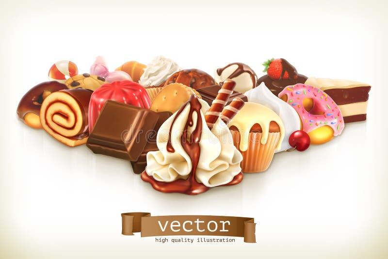 Süßer Nachtisch mit Schokolade stock abbildung