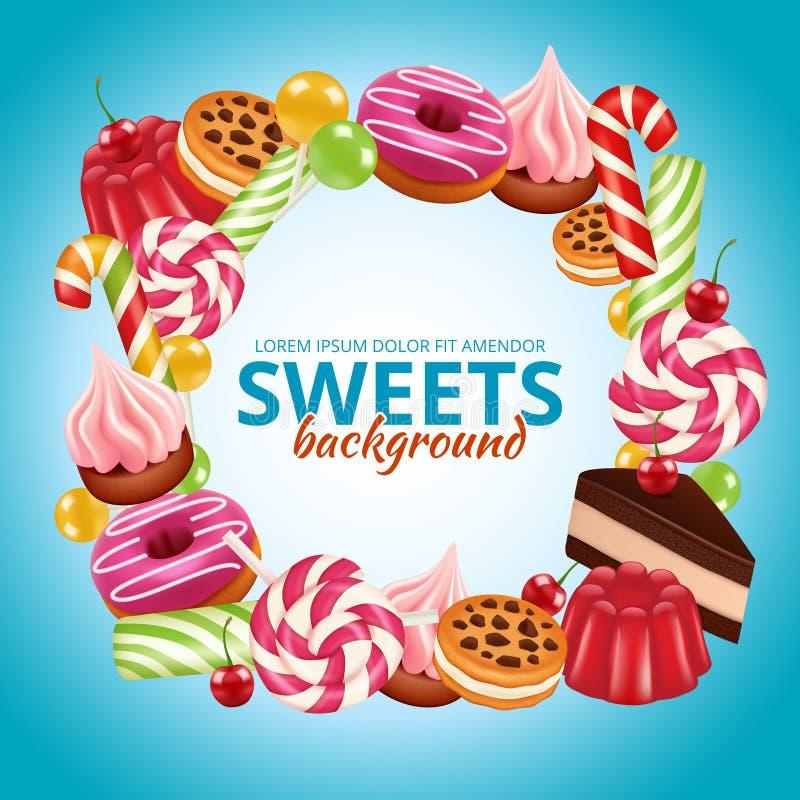 Süßer Süßigkeitsrahmen Lutscher um und verdrehter Shop färbten realistische Bilder des dulce Vektor-Hintergrundes stock abbildung