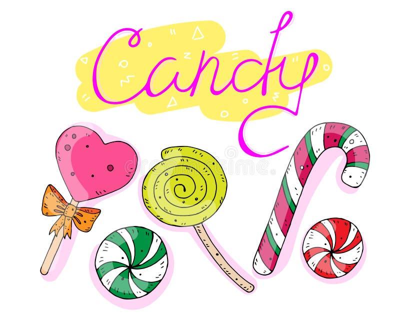 Süßer Satz Süßigkeiten mit der Aufschrift Auch im corel abgehobenen Betrag lizenzfreie abbildung