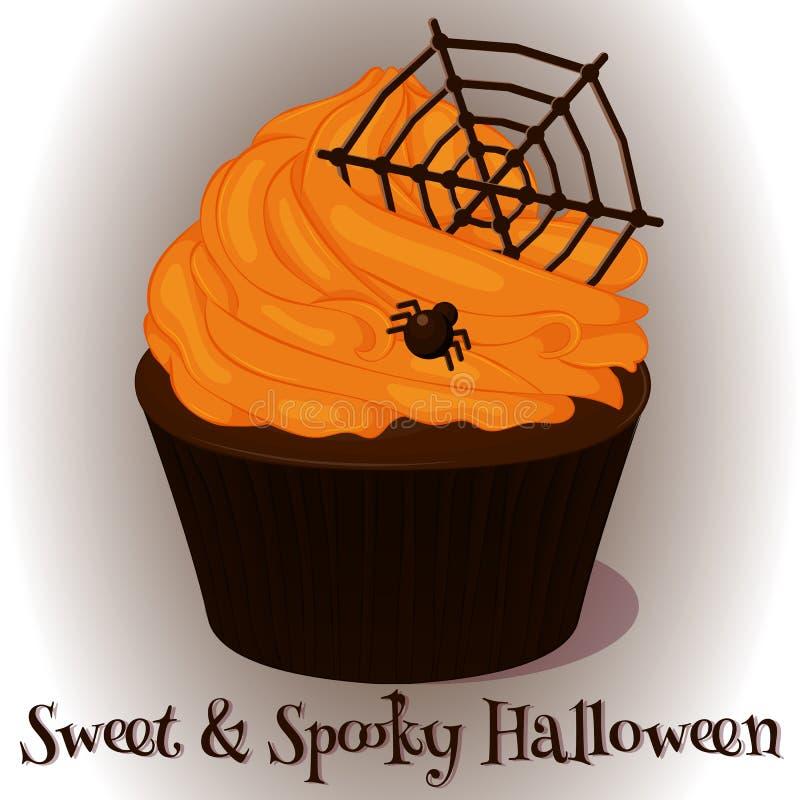 Süßer und gespenstischer kleiner Kuchen mit hocolate Netz und Spinne für Halloween in der Karikaturart Auch im corel abgehobenen  vektor abbildung