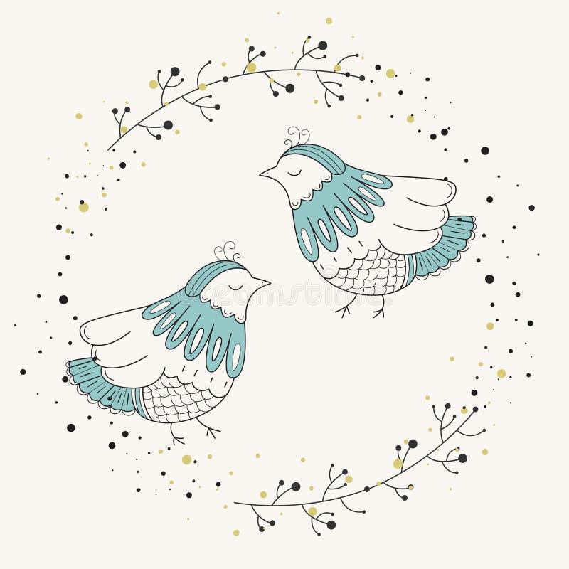 Süßer Vogel Vector Illustration der skandinavischen Art auf einem weißen Hintergrund Blühen Sie Feld lizenzfreie abbildung