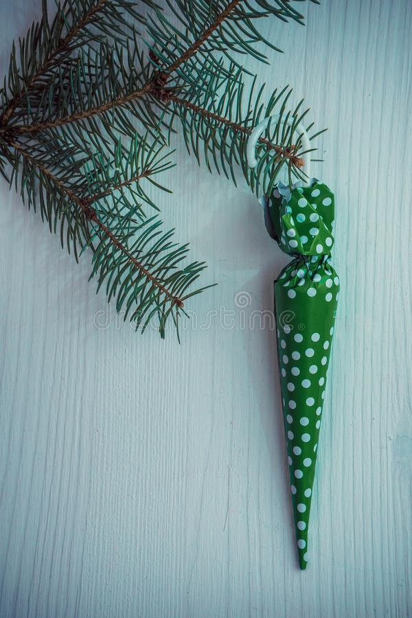 Süßer Weihnachtshintergrund Weihnachten und anderes Winterurlaubkonzept mit Kopienraum, Draufsicht lizenzfreie stockbilder