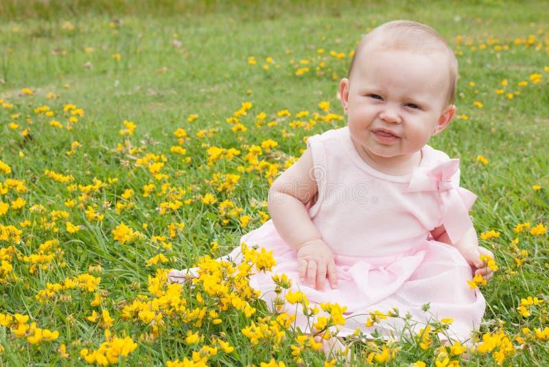 süßes Baby auf dem Gebiet stockfoto