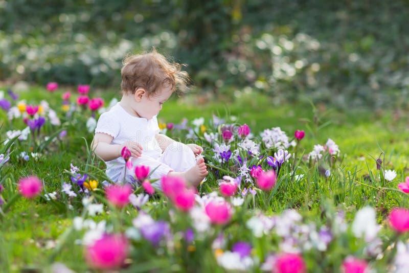 Süßes Baby, das auf einem Gebiet von Blumen spielt lizenzfreie stockfotografie