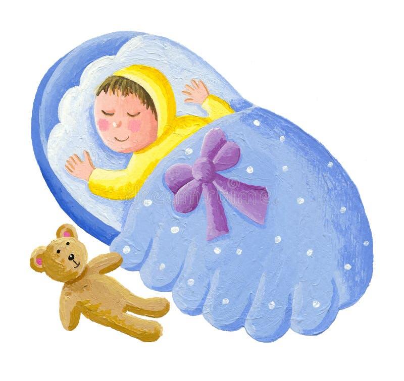 Süßes Baby, das mit Teddybären schläft stock abbildung
