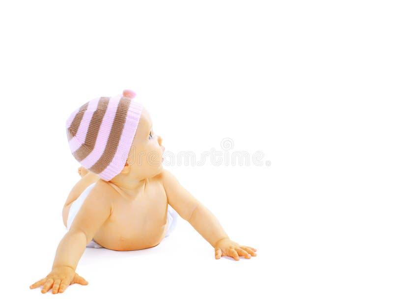 Süßes Baby, das oben schaut lizenzfreies stockbild