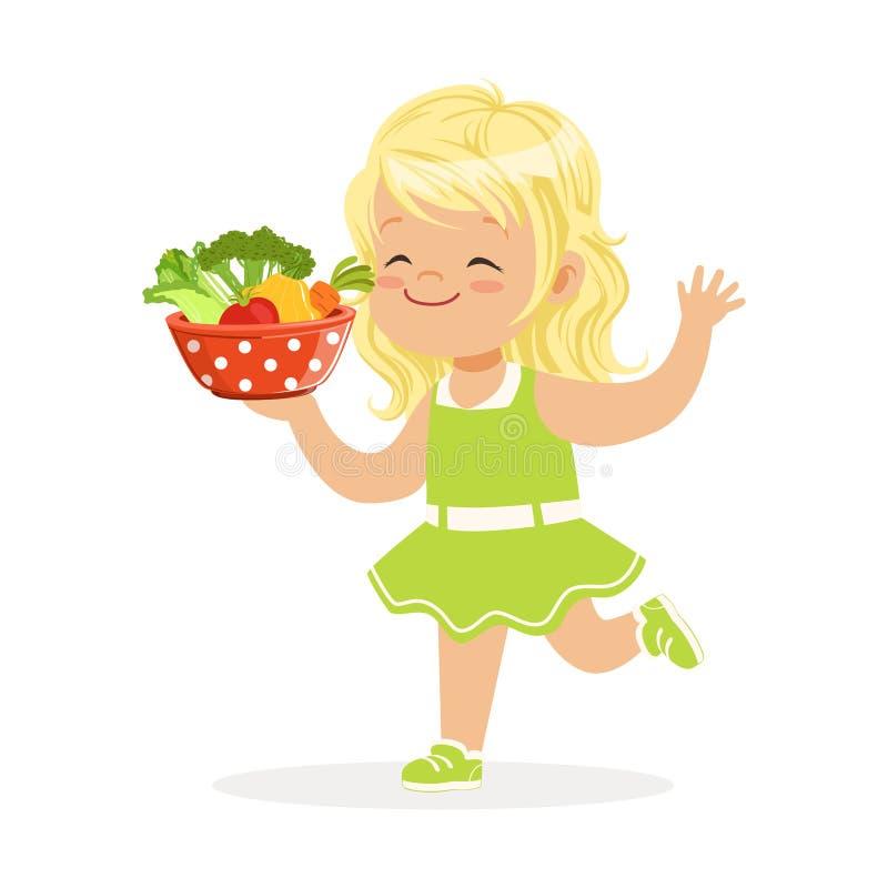Süßes blondes kleines Mädchen, das mit der Schüssel voll vom Gemüse, bunte Illustration Vektor Kinderdes gesunden Lebensmittelkon vektor abbildung
